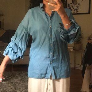 Zara Woman ruffle sleeve chambray shirt